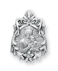 """13/16"""" Sterling Silver Our Lady of Perpetual Help in Floral pattern.  An 18"""" rhodium plated curb chain is included with a deluxe velour gift box. Medal is made in the USA."""