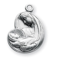 "13/16"" Uniquely shaped Sterling Silver Madonna and Child Medal. Medal comes on an 18"" rhodium plated curb chain and comes in a deluxe velour gift box. Dimensions: 0.8"" x 0.6"" (21mm x 15mm). Weight of medal: 2.2 Grams. Solid .925 sterling silver. Made in the USA."