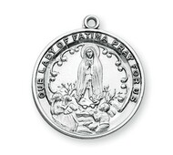 "1-1/16"" Sterling Silver Our Lady of Fatima Medal. A 24"" rhodium plated curb chain is included. Deluxe Velour Gift Box. Made in the USA."