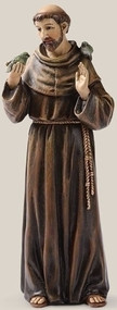 "Saint Francis Statue~ Patron Saint of Animals & Ecology, 6.25""H x 2.25""W x 1.75""D, Resin/Stone Mix"