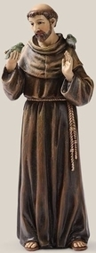 "Saint Francis Statue~ Patron Saint of Animals & Ecology, 6.25""H x 2.25""W x 1.75""D, Resin/Stone Mix"