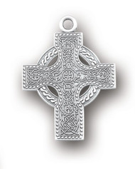 """Irish Celtic cross pendant. Solid .925 sterling silver. Detail depicts Celtic knots. Dimensions: 1.1"""" x 0.8"""" (27mm x 20mm) Weight of medal: 2.4 Grams. 24"""" Genuine rhodium plated endless curb chain. Made in USA. Deluxe velvet gift box."""