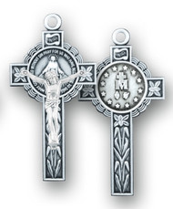 Front and back view of Miraculous Medal Crucifix.