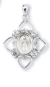 "1 1/2"" Sterling Silver Oval Shaped Miraculous Medal is set in a frame consisting of 4 hearts with 4 Swarovski Clear or Aqua Set Cubic Zircons set in between hearts. A 24"" rhodium plated curb chain is included with a deluxe velour gift box. Made in the USA."