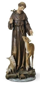 "Saint Francis 14"" Statue. Patron Saint of Animals & Ecology. Resin/Stone Mix. 13.75""H x 5.5""W x 5.25""D"