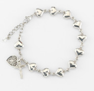 Sterling Silver Heart Shaped Rosary Bracelet