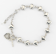 Sterling Silver Heart Shaped Rosary Bracelet