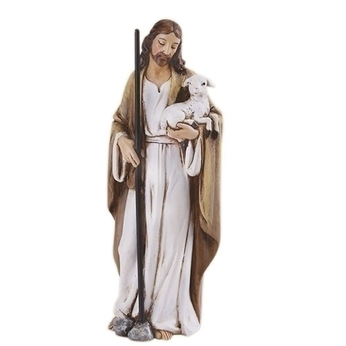 """Good Shepherd 4"""" Statue. Made of a Resin/Stone Mix. Dimensions: 4""""H x 1.5""""W x 1.375""""D"""