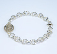 "Solid Sterling Silver Heavy Link Bracelet with 1"" Sterling Silver Miraculous Medal Connector. Comes in a deluxe velour gift box. Made in the USA."