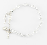 All Sterling 6mm Sterling Silver Bicone Corrugated Beads with Sterling Silver Miraculous Medal and Crucifix made with all Sterling Findings. Rosary Bracelet comes in a deluxe velour gift box. Made in the USA.