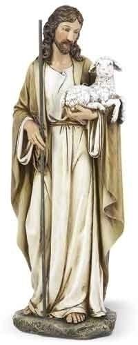 "Good Shepherd 10.5Inch Statue. Resin/Stone Mix. Dimensions: 10.5""H x 4""W x 3""D."