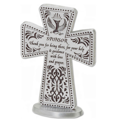 """3""""H Standing sponsor cross with dove and decorative design. Says """"Sponsor Thank you for being there, for your help and guidance with love and prayer"""". Comes gift boxed."""