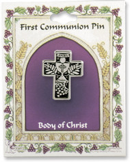 First Communion Cross Pin with bread and chalice, grapes, and wheat detailing.
