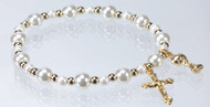 First Communion Stretch Bracelet with Gold Accents