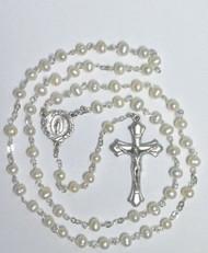 Genuine White Fresh Water Pearl Rosary
