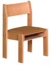 "Stacking chair with wood back  Front and rear underseat book rack  Dimensions: 33"" height, 20"" width, 19"" depth  Removable folding kneeler is available at an additional cost"