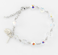8mm Aurora Multi Faceted Swarovski Crystal Beads Rosary Bracelet. B.) All Sterling Silver links, chains and miraculous medal and crucifix; or BR) Rhodium plated solid brass links with a sterling silver miraculous medal and crucifix. Comes in a deluxe velour gift box. Made in the USA.