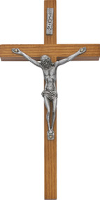 """10"""" Walnut Crucifix, with silver corpus. Comes bagged, no box."""