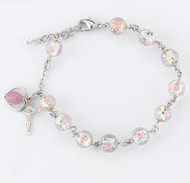 "8mm Rose Embedded Murano Glass Beads and Pink Enameled Sterling Silver Miraculous Medal and Crucifix. This bracelet is 7 ½"" long with a 2"" extender. Choose from either sterling silver or rhodium plated brass findings. Comes with deluxe velour gift box. Made in the USA."