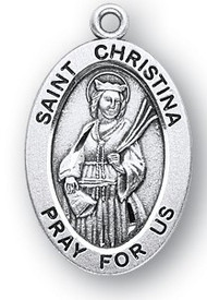 "St. Christina Medal - Sterling silver 7/8"" oval medal with a portrayal of St. Christina holding a Scroll and Palms. She is the Patron Saint of Millers, Mental Disorders. Comes on an 18"" genuine rhodium plated chain in a deluxe velour gift box. Engraving option available."