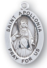 "St. Apollonia Sterling silver 7/8"" oval medal with a 18"" genuine rhodium plated chain. Medal comes in a deluxe velour gift box. Engraving option available. Patron St of  dentists."