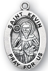 "Saint Kevin Medal - Sterling silver 7/8"" oval medal with a portrayal of St. Kevin with a staff and a birds nest. He is the patron saint of blackbirds and Dublin Ireland. Comes on a 20"" genuine rhodium plated chain in a deluxe velour gift box. Engraving option available."