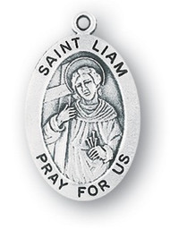 "Saint Liam Medal - Patron Saint of York ~ Sterling silver 7/8"" oval medal with a portrayal of St. Liam holding a staff and book. He is the patron saint of York. Medal comes on a 20"" genuine rhodium plated chain and comes in a deluxe velour gift box. Engraving option available."