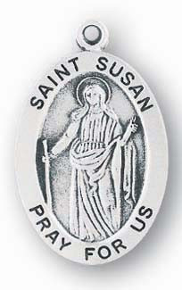 "Saint Susan Medal -Sterling silver 7/8"" oval medal with a portrayal of St. Susan holding a sword. She is the patron saint of people forced into exile. Comes on an 18"" genuine rhodium plated chain and in a deluxe velour gift box. Engraving option available."