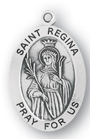 "Saint Regina Medal - Patron Saint of Impoverishment and Shepherds. Sterling silver 7/8"" oval medal with a portrayal of St. Regina wearing a Crown and holding a Palm Staff. Comes on an 18"" genuine rhodium plated chain and in a deluxe velour gift box. Engraving option available."