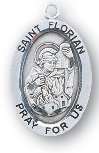"""Saint Florian Medal - Patron Saint of Firefighters and Chimneysweeps. Sterling Silver 7/8"""" oval  medal with a portrayal of St. Florian putting out a Fire wearing Soldiers Garb.  Comes with a 20"""" genuine rhodium plated chain and in a deluxe velour gift box. Engraving option available."""
