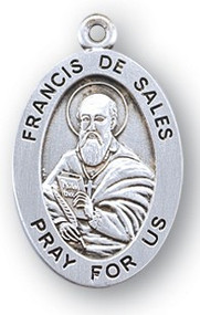 "7/8"" sterling silver oval medal with a portrayal of St. Francis De Sales holding a Book and Quill Pen. He is the Patron Saint of the Deaf, Educators, Writers, Journalist. Comes with a 20"" genuine rhodium plated chain in a deluxe velour gift box. Engraving option available."