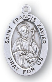 "St Francis Xavier - Patron Saint of all Foreign Missions- 7/8"" oval medal.  Comes with a 20"" genuine rhodium plated chain and in a deluxe velour gift box. Engraving option available."