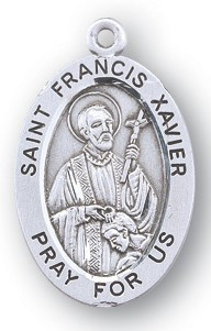 """St Francis Xavier - Patron Saint of all Foreign Missions- 7/8"""" oval medal.  Comes with a 20"""" genuine rhodium plated chain and in a deluxe velour gift box. Engraving option available."""