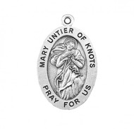 """7/8"""" Sterling Silver Oval Mary Untier of Knots medal with an 18"""" Genuine rhodium plated curb chain. Comes in a deluxe velour gift box. Solid .925 sterling silver. Weight of medal: 1.9 Grams. Dimensions: 0.9"""" x 0.6"""" (24mm x 14mm).  Engraving available. Made in the USA."""