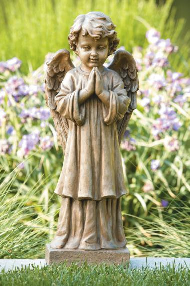 """Give your garden a beautiful look with this choir angel garden statue. This garden statue features an cherub with his hands together in prayer and is comes in a natural color.  Dimensions: 27.25""""H x 8.75""""BW x 7.5""""BL Weight: 55 lbs Natural color Made to order. Allow 4-6 weeks for delivery Made in the USA"""
