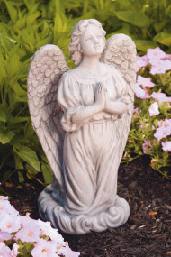"This guardian angel statue features an angel kneeling on a cloud. This is a beautiful addition to your garden. Dimensions: 27.25""H x 8.75""BW x 7.5""BL Weight: 55 lbs Natural color Made to order Made in the USA Allow 4-6 weeks for delivery."