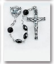 Jet Black Oval Swarovski Crystal Rosary