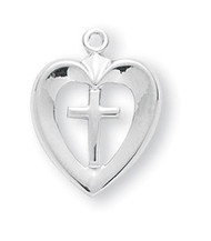 "3/4"" x 1/2""  Rhodium plated cross in a heart. This medal comes on an 18"" rhodium chain. Cross comes in a white leatherette gift box. Perfect for First Holy Communion Day! Also available in silver, rose gold or gold over silver."