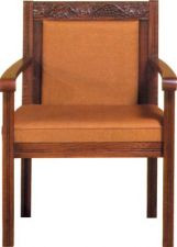 "Center chair with upholstered back. Dimensions: 36"" height, 27"" width, 20"" depth. Product shown with reversible cushion but is also available with a fixed 2-1/2"" comfort plus cushion"