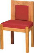 "Sanctuary side chair with upholstered back. Dimensions: 34"" height, 21"" width, 20"" depth. Product shown with reversible cushion but is also available with a fixed 2-1/2"" comfort plus cushion"