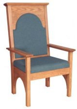 "Celebrant chair with upholstered seat and back  Dimensions: 50"" height, 29"" width, 28"" depth"