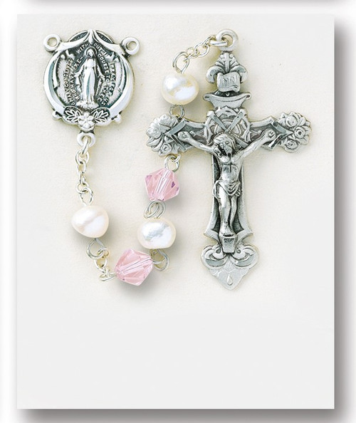 """Freshwater Pearl Sterling Rosary ~ Rosary with 6mm freshwater pearl beads with 7mm bicone pink crystal beads. Sterling silver miraculous center and 1-13/16"""" crucifix. Rhodium plated brass findings. Comes with a deluxe velour gift box. Made in the USA."""