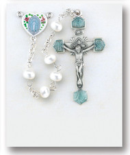 Enameled Heart and Freshwater Pearl Rosary