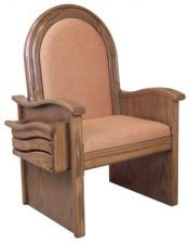 "Celebrant chair with upholstered seat and back  Dimensions: 46"" height, 30"" width, 26"" depth"
