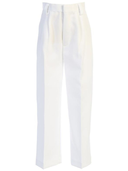 Boy's poplin pants.  Pants have a hook & eye closure with zipper fly, elastic waistband at the back and belt loops. Made in U.S.A.