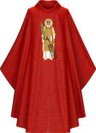 "Chasuble in Cantate (99% wool, 1% gold threads). Width: 63"", Length: 53"". With inside stole. Stiff roll-collar 4"". Red with Applique embroidery of St. Lawrence. These items are imported from Europe. Please supply your Institution's Federal ID # as to avoid an import tax. Please allow 3-4 weeks for delivery if item is not in stock"