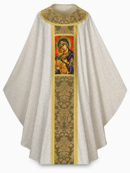 """Our Lady of Perpetual Help Design~Chasuble in Tassilo with beautiful damask and design of Our Lady. With inside stole. Digitally printed design on damask banding. Width: 59"""", Length: 53"""". Plain neck. These items are imported from Europe. Please supply your Institution's Federal ID # as to avoid an import tax. Please allow 3-4 weeks for delivery if item is not in stock"""