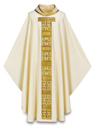 """Chasuble in Cantate (99% wool, 1% gold threads) comes with inside stole.  Cross motif is hand embroidered in cotton and gold colored threads. Width: 63"""", Length: 53"""". Embroidered 4"""" roll-collar. Comes in white, red, green or purple. These items are imported from Europe. Please supply your Institution's Federal ID # as to avoid an import tax. Please allow 3-4 weeks for delivery if item is not in stock.Matching Overlay Stole, Mitre, Cope, Dalmatic, and Deacon Stole also available."""