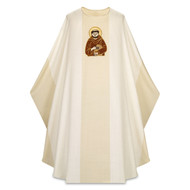 """Saint Francis Chasuble- Chasuble in David fabric, (100% wool) Width: 61"""", Length: 53"""". Neck height: 9"""". Saint Francis Image Embroidery These items are imported from Europe. Please supply your Institution's Federal ID # as to avoid an import tax. Please allow 3-4 weeks for delivery if item is not in stock."""