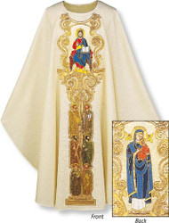 """Front - Jesus with six of the apostles-Chasuble in Cantate (99% wool, 1% gold thread). With inside stole.   Width: 63"""", Length: 53"""". Neck height: 9"""". Roll-collar 4"""".  On front: Jesus, Pantocrator, with six of the Apostles. On back: Blessed Mother, with six of the apostles.  These items are imported from Europe. Please supply your Institution's Federal ID # as to avoid an import tax.  Please allow 3-4 weeks for delivery if item is not in stock"""